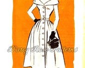 Anne Adams 4789 Misses' Vintage 1950s Off Shoulder Draped Collar Dress with Full Skirt Sewing Pattern