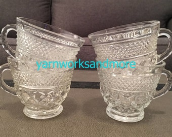 Wexford Cups, Lot Of 4, Anchor Hocking Wexford Punch Cups, Wexford Tea Cups, Wexford Glass Cups, Crisscross Glass, Vintage 1970s Cups