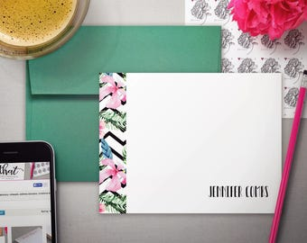 Floral Stationery | Personal Stationary | Personalized Card | TROPICAL CHEVRON | Flat Note Cards | Floral Notecards