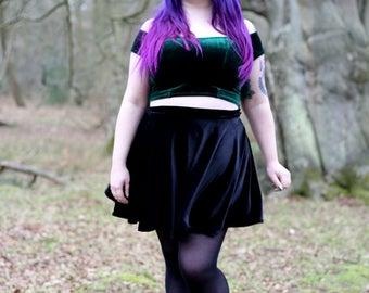 Cirice - full circle skater skirt made from black velvet or scuba jersey