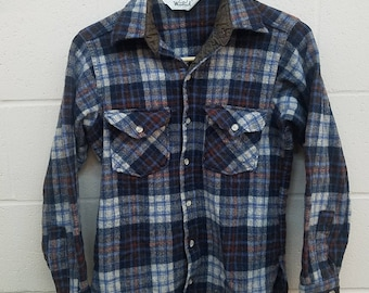 Woolrich Wool Shirt |  Size Small | Vintage Woolrich Plaid Wool Shirt | USA Made | Blue Red White Plaid | Wool Flannel Shirt  |  Lumber Jack