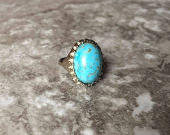 Silver Turquoise Oval Goddess Ring - Gemstone Jewelry