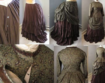 Dark Olive Green Paisley Victorian Bustle Dress