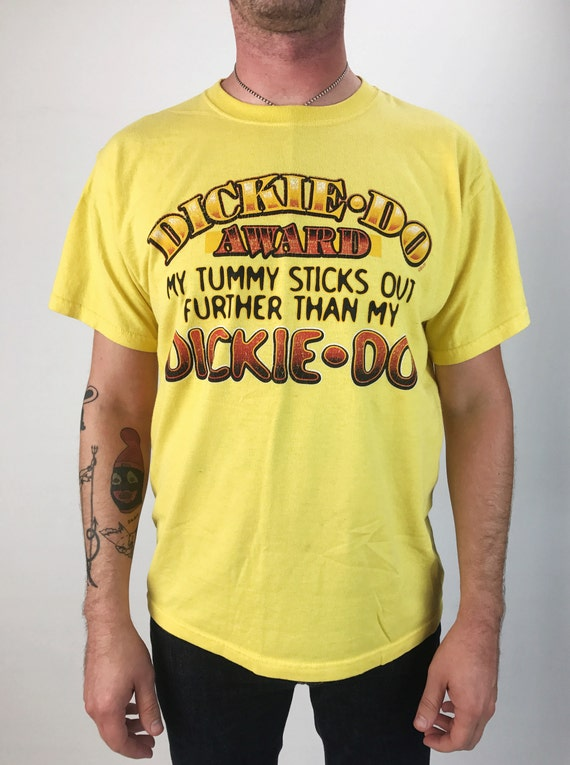 90's Dickie-Do Award Funny Humorous Novelty Tee Large - Mens Funny Sex Perverted Vintage Humorous DICK Tee Shirt Canary Yellow Graphic Tee