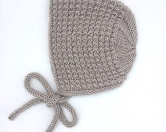 Inga Knit Baby Bonnet in Pebble