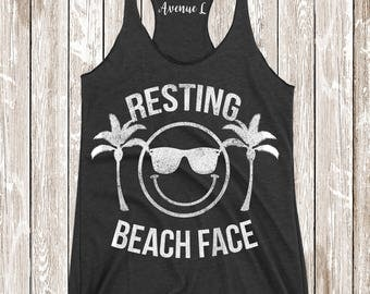 Resting Beach Face Tank - Workout Clothing - Muscle Tank - Running Tank - Workout Tank