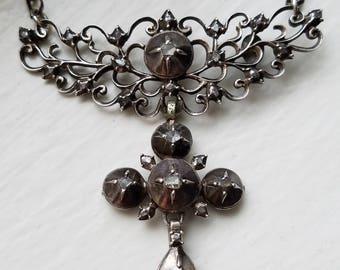 Antique Georgian French Regional Rose Cut Diamond Silver Cross Necklace, Stomacher, Flemish, Religious Charm Pendant