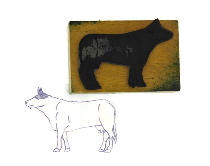Vintage Cow Rubber Stamp. Letterpress Printing Block. Kids Craft Supplies. French Farmhouse Nursery Art.