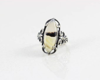 Sterling Silver Moss Agate Ring Band size 6