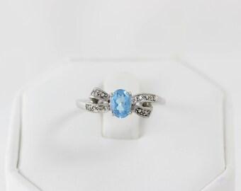 10k White Gold Blue Topaz and Diamond Bow Ring Size 10