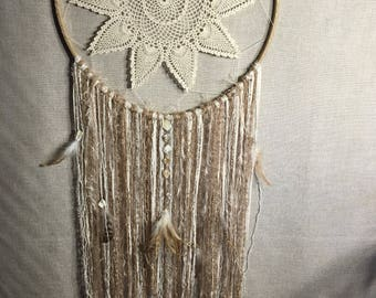 Dreamcatcher with abalone chips and feathers