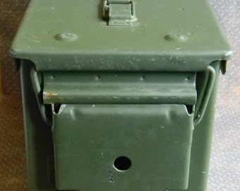 Vintage Watertight Design Ammunition Storage Container. 50 Cal. Ammo Can w/Good Rubber Gasket Seal. Tough OD Green Coated Steel Fabrication.