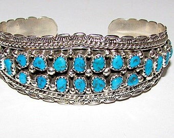 Vintage Old Pawn Navajo Sterling Silver Kingman Mine Turquoise Cuff Bracelet Native American