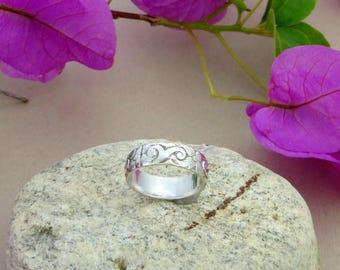 Sterling Silver Wave Design Stackable Ring