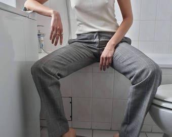 Dolce&Gabbana pants / plaid pants / wool pants / tartan / checkered / 90s 2000s pants / woman pants / vintage pants / gray pants M/L