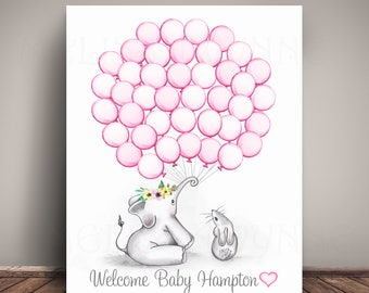 Choose your colors Elephant and Bunny Baby Shower Guest Book Alternative - EBBT-BL - Elephant Baby Shower