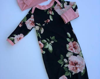 Newborn Girl Coming Home Outfit. Baby Girl. Floral Gown. Flowers. Hello World. Outfit with Headband. Pink. Black. Girly. Ready to ship.