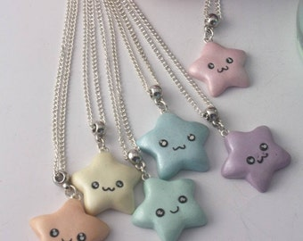 Necklace with starlet fimo polymer clay