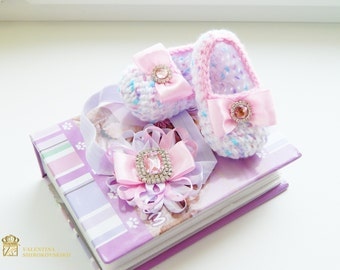 Free shipping. Ballet Slippers and Rose Headband. Baby Ballerina Set. Slippers and Headband. Newborn Ballerina.