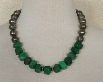 Hunter Green Agate Necklace, Chunky Statement Necklace, Pyrite, Dark Green Beaded Strand Necklace, Fool's Gold, Bohemian, St Patrick's Day