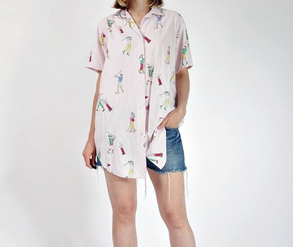 SALE - 80s Golf pastel pink pyjama style shirt / size S-L
