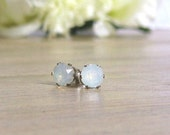 Opalite Earrings Real Silver earrings Silver stud earrings Opal stud earrings Gemstone studs Real silver studs Birthday gift Christmas gift