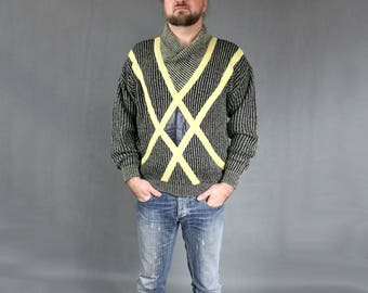 80s Retro Shawl Neck Black and Yellow Color Block Sweater, Men's Geometric Pattern Leather Patch Applique Knit Jumper, Workout Pullover Sz L