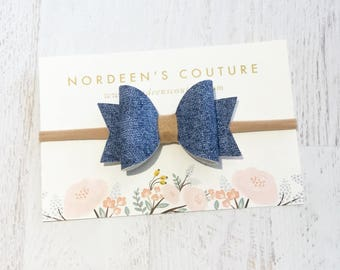 Denim Blue Bow Headband, Leather Baby Bow Headband or Hair Clip, Denim Hair Clip, Denim Hair Bow, Leather Hair Bow,