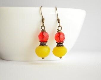 Yellow and Red earrings, Vintage Earrings, Handmade Earrings, Gift For Her, Under 20 Dollar, Bohemian Earrings, Boho Jewelry, Wedding. Chic.