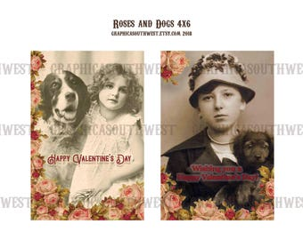 Instant download high resolution digital download Roses and Dogs Valentine Postcards 4x6