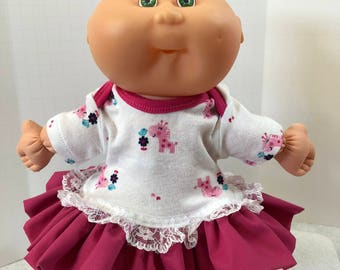 "Cabbage Patch NEWBORN 12 inch Doll Clothes, Little ""PINK PONY & Blue Bird"" Ruffle and Lace Trim Dress, 12 inch Newborn Cabbage Patch Clothes"