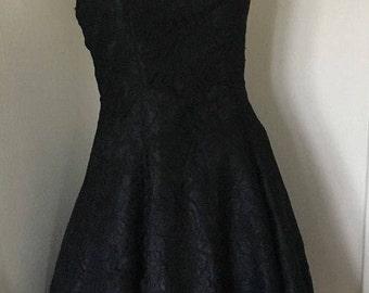 Jinty Perkaboo glamorous Vintage/retro  1980's Black LACE DRESS S 8/10
