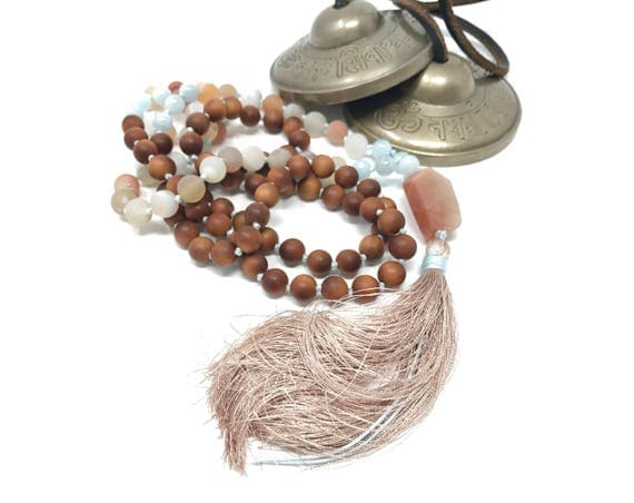 Druzy Agate Mala Beads, Aquamarine and Orange Moonstone Mala Necklace, 108 Bead Silk Tassel Mala, Sandalwood Hand Knotted Mala, Yoga Beads