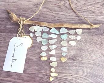 Sea Glass Decor, Wall Art, Girls Room Decor, Room Decor, Seaglass, Driftwood Art, Sea Glass Mobile, Driftwood Mobile, Yellow Sea Glass, Boho