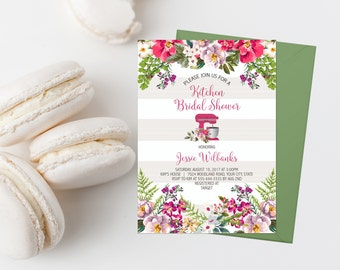 Kitchen Bridal Shower Invitation Printable Mixer Bridal Shower Invite Stock The Kitchen Shower Invite Pink Floral Kitchen Shower Invites 314