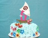 Moana cake topper. Personalized Moana cake topper.  Hawaiian luau cake decor. Hawaiian party.  Moana birthday cake decor