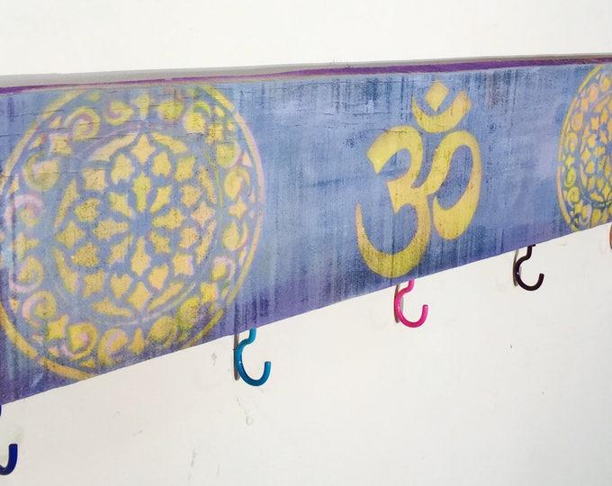 Chakras ohm art decor custom signs/ wooden yoga om sign with 5 coat hooks key holder mandalas wall rack entryway organizer/ custom wood sign