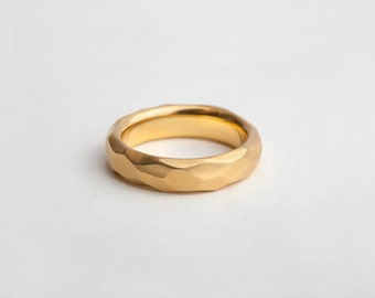 Faceted Band, Geometric Ring, 18k 14k Gold Mens Ring, Unique Men Wedding Rustic Ring, Man Raw Band, Carved Ring Design Texture