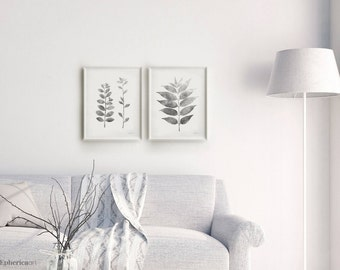 Black and white Botanical wall art set, Gray leaves prints, Printable decor Living room wall decor set Gray and white wall art 16x20 prints