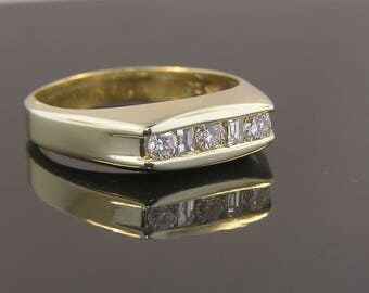 Mens Diamond Wedding Ring - 14k Yellow Gold Band - .40cttw Channel Set Diamonds - Vintage Estate - Consignment - Size 11.75