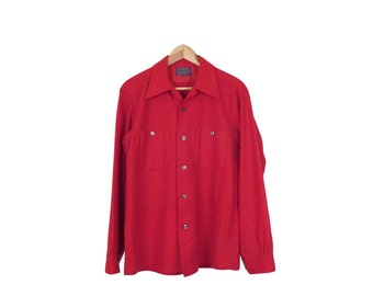 Vintage 50s/60s Pendleton Red Wool Loop Collar Long Sleeve Button Down Shirt Size M
