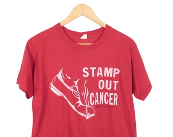 Vintage 70s Stamp Out Cancer Tee Size L