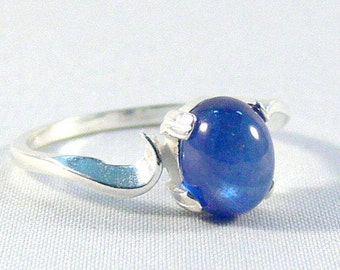Blue sapphire ring, silver ring, Sapphire cabochon, 925 sterling silver ring, gemstone ring, Solitaire ring, engagement ring, gift wedding