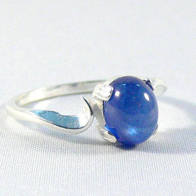 Diamantring verlobung blau  Saphir Ring blau Silber Ring Saphir Cabochon 925 Sterling