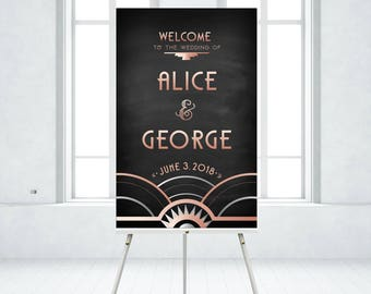Rose Gold Black Art Deco Large Printed Welcome Sign & Any Frame . Great Gatsby 1920 Chalkboard Speakeasy Parlor . Add an EASEL