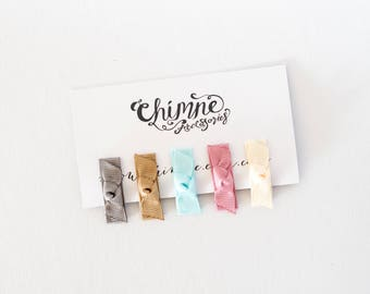 Baby hair clips, baby hairbows, tiny hair bows, baby clip bows, tiny hair clips, baby bows, set of 5 snap clips, clips for fine hair