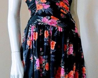 Laura Ashley, Original Vintage 80s, Black Pink & Red, Floral, Strapless Dress, Size 10