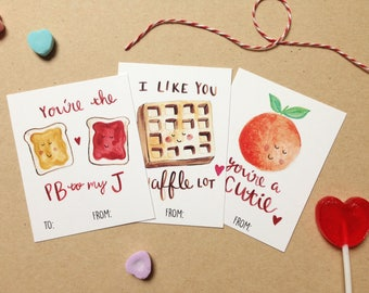 Fun watercolor valentines - classroom valentines - Valentine's day cards - valentine's kids - punny valentine - food valentine - galentines