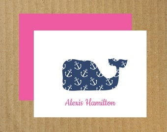 Whale Anchor Note Cards, Set of 25, Whale Stationery, Anchor Whale, Baby Whale Note Cards, Baby Thank You Cards, Thank You Cards, Stationery