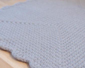 Bedroom Rug Grey Wool Crochet Rectangular carpet - Bedside rugs Felted wool rug - Floor mats seating